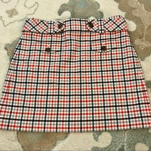 Mod-inspired Plaid Belted Mini Skirt in Wool